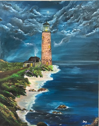 (CreativeWork) Lighthouse  by Pinki Das. Oil Paint. Shop online at Bluethumb.