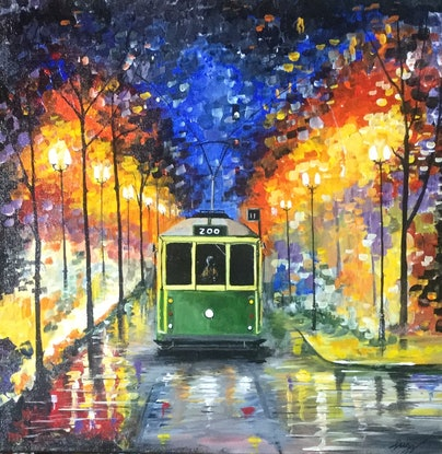 (CreativeWork) Tram trip to the Melbourne Zoo by Geoff Lugg. Acrylic Paint. Shop online at Bluethumb.