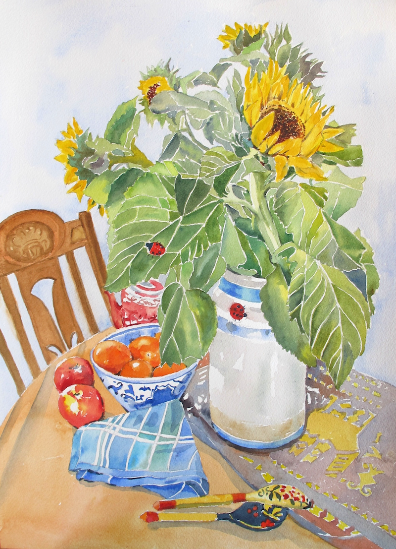 (CreativeWork) Sunflowers by Helen Dubrovich. Watercolour Paint. Shop online at Bluethumb.