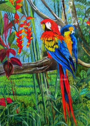 (CreativeWork) Love Birds in Paradise by Helen Dubrovich. Drawings. Shop online at Bluethumb.