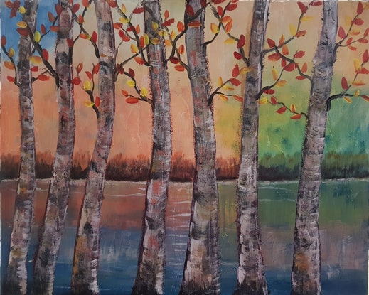 (CreativeWork) Abstract, impressionism, landscape by Sylvia Nobes. Mixed Media. Shop online at Bluethumb.