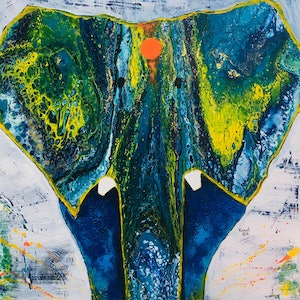 (CreativeWork) Elephant  by Kanak Kiran. mixed-media. Shop online at Bluethumb.