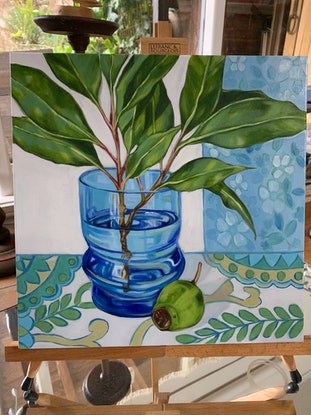 (CreativeWork) Retro Blue Glass & Barkcloth by Alicia Cornwell. Oil Paint. Shop online at Bluethumb.