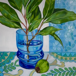(CreativeWork) Retro Blue Glass & Barkcloth by Alicia Cornwell. oil-painting. Shop online at Bluethumb.