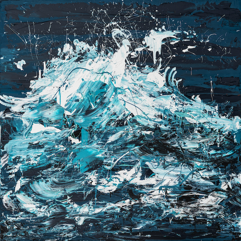 (CreativeWork) Wave In The Storm 2019 Blue by Annette Spinks. Acrylic Paint. Shop online at Bluethumb.