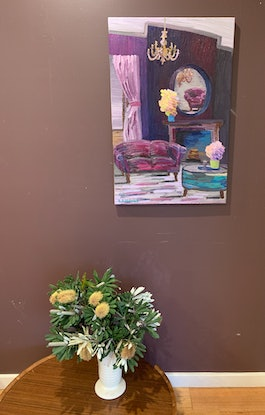 (CreativeWork) The Lavender Room  by Elisabeth Howlett. Oil Paint. Shop online at Bluethumb.