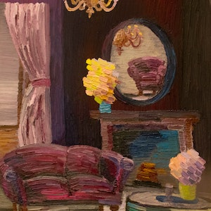 (CreativeWork) The Lavender Room  by Elisabeth Howlett. oil-painting. Shop online at Bluethumb.