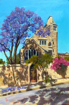 (CreativeWork) Local church with jacaranda  by Shelly Du. Acrylic Paint. Shop online at Bluethumb.