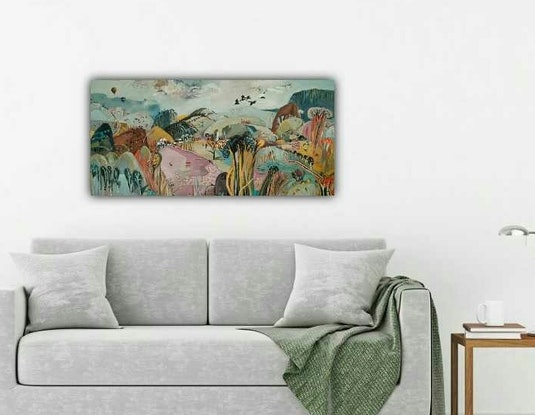 (CreativeWork) Abstract Landscape - Pink Lake by Susan Trudinger. Acrylic Paint. Shop online at Bluethumb.