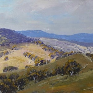 (CreativeWork) Kanimbla  Valley cloud shadows by Graham Gercken. oil-painting. Shop online at Bluethumb.
