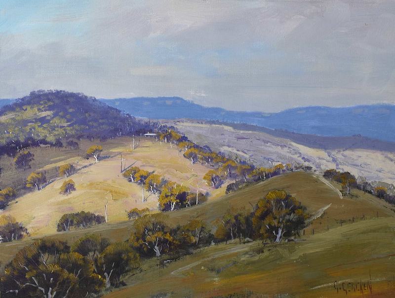 (CreativeWork) Kanimbla  Valley cloud shadows by Graham Gercken. Oil Paint. Shop online at Bluethumb.