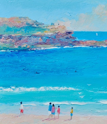 (CreativeWork) COLOURS OF MANLY BEACH, SYDNEY by Jan Matson. Oil Paint. Shop online at Bluethumb.
