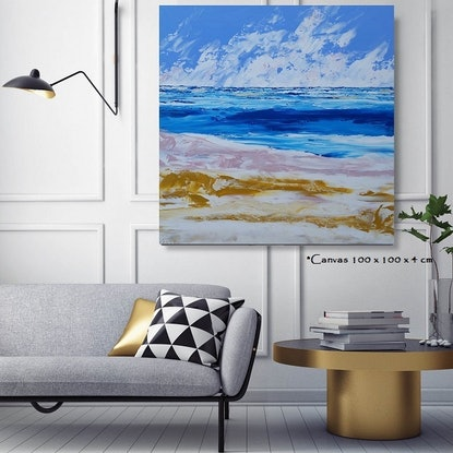 (CreativeWork) Sandy - 100 x 100cm Blue Teal White Pink Mustard Ochre Acrylic Abstract Art by Desley Wilson. Acrylic Paint. Shop online at Bluethumb.