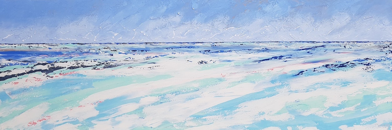 (CreativeWork) Long Beach - 180 x 60cm Blue Teal White Acrylic Abstract Art by Desley Wilson. Acrylic Paint. Shop online at Bluethumb.