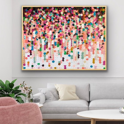 (CreativeWork) Braaf 122x92 framed abstract  by Sophie Lawrence. Acrylic Paint. Shop online at Bluethumb.