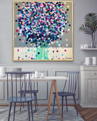 (CreativeWork) Blue posie 102x102 framed abstract by Sophie Lawrence. Acrylic Paint. Shop online at Bluethumb.