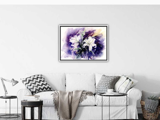 (CreativeWork) White Lilies by Cecilia Xiao. Watercolour Paint. Shop online at Bluethumb.