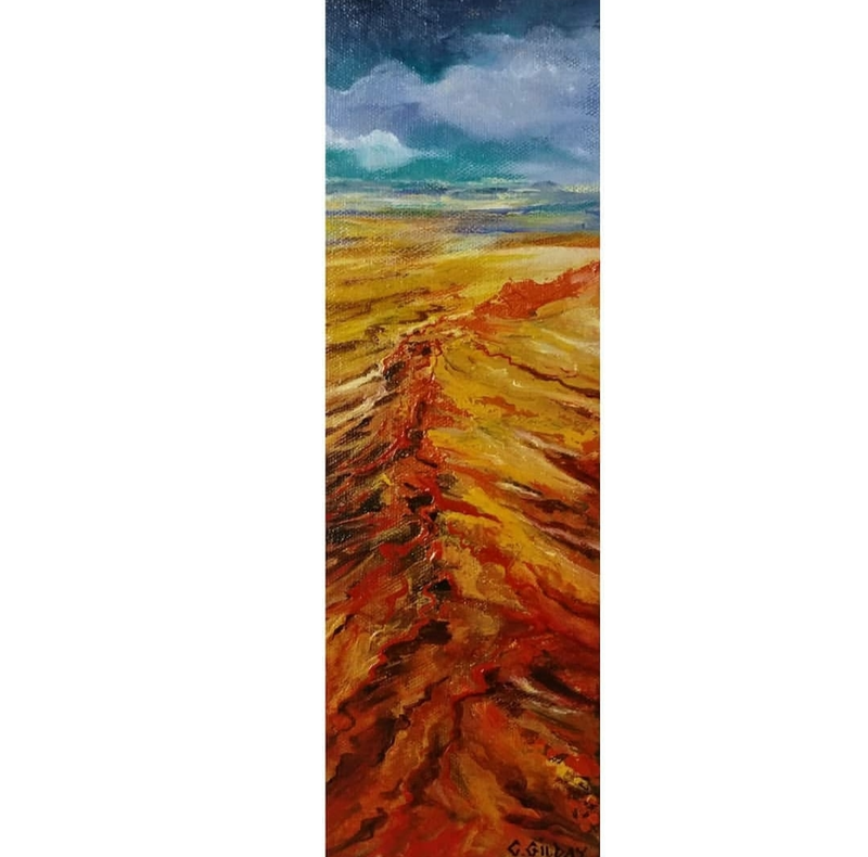 (CreativeWork) Red Terrane by Cathy Gilday. Acrylic Paint. Shop online at Bluethumb.