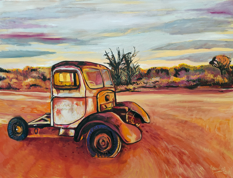 (CreativeWork) Silverton Car NSW by Rebecca Read. Oil Paint. Shop online at Bluethumb.