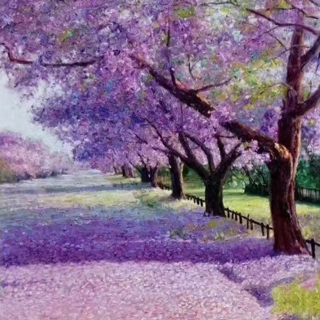 (CreativeWork) Jacaranda Avenue 2 by Jie Shen. Oil Paint. Shop online at Bluethumb.