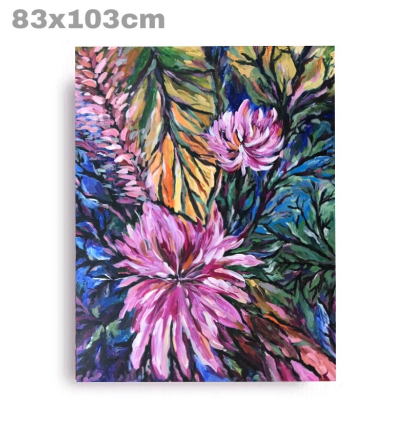 (CreativeWork) pink flower by Rain wu. Acrylic Paint. Shop online at Bluethumb.