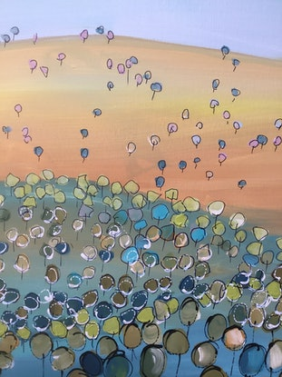 (CreativeWork) Golden field beyond  by Ron Brown. Acrylic Paint. Shop online at Bluethumb.