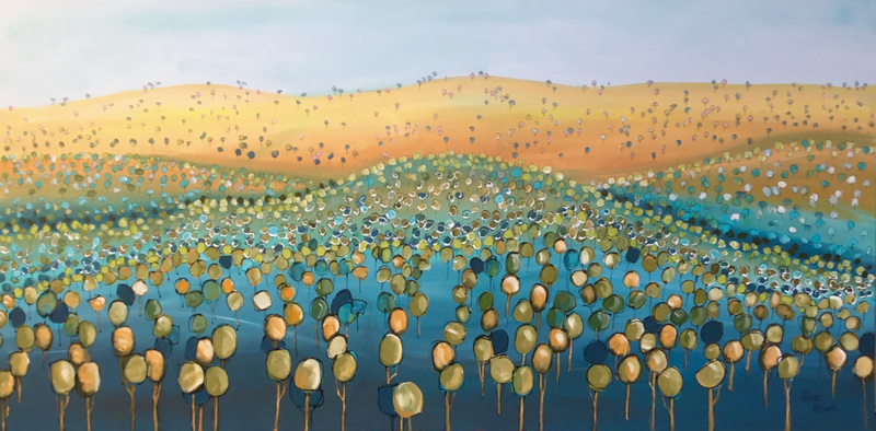 (CreativeWork) Golden field beyond  by Ron Brown. acrylic-painting. Shop online at Bluethumb.