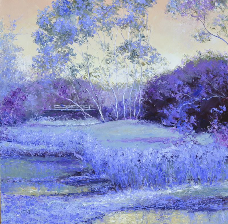(CreativeWork) LANDSCAPE IN PURPLE AND LAVENDER  by Jan Matson. Oil Paint. Shop online at Bluethumb.