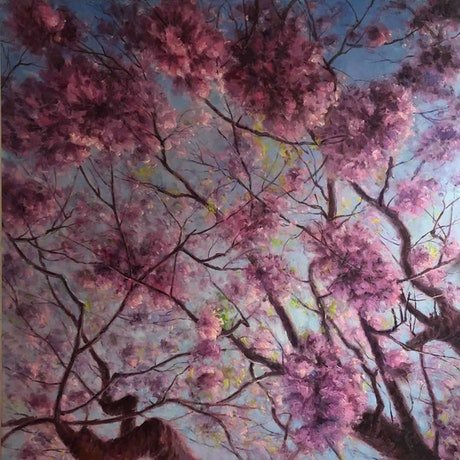(CreativeWork) Jacaranda Blossom by Jie Shen. Oil Paint. Shop online at Bluethumb.