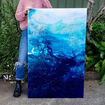 (CreativeWork) Deep Waters by Michelle Murphy. Mixed Media. Shop online at Bluethumb.