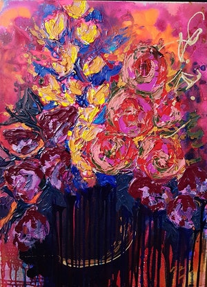 (CreativeWork) Wine Time by Michelle Murphy. Acrylic Paint. Shop online at Bluethumb.