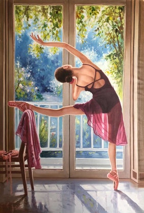 (CreativeWork) Ballerina  by Jie Shen. Oil Paint. Shop online at Bluethumb.