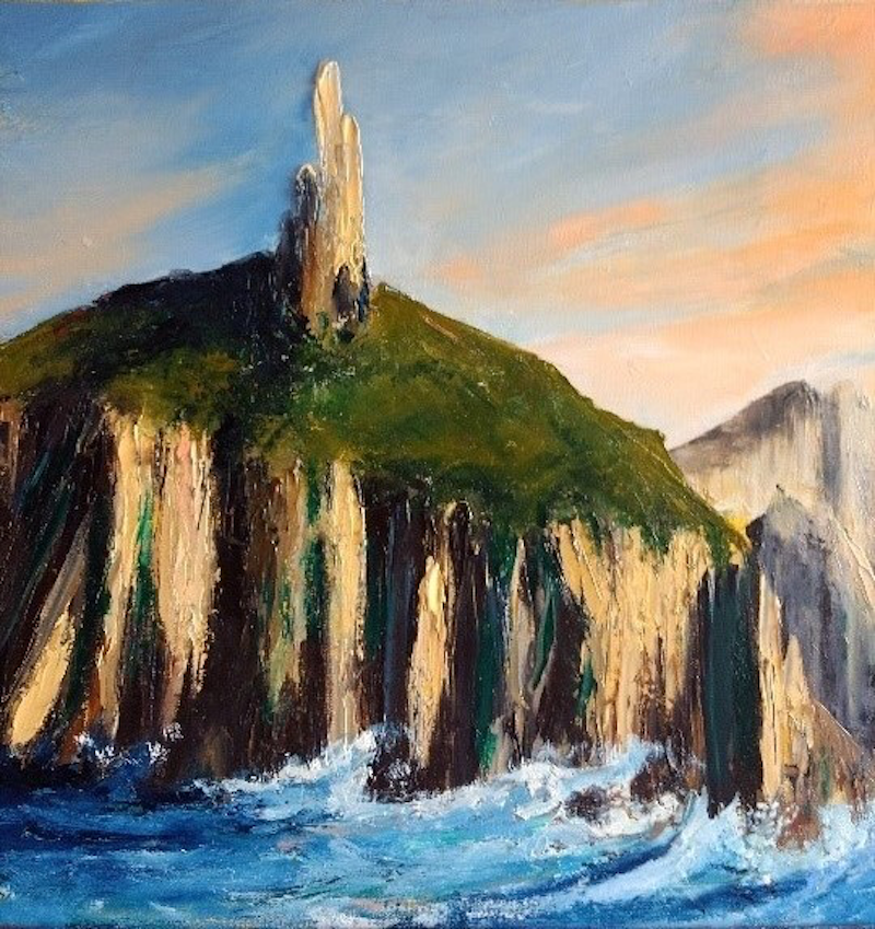 (CreativeWork) Passing Cape Pillar by Liam Rudolf. Oil Paint. Shop online at Bluethumb.