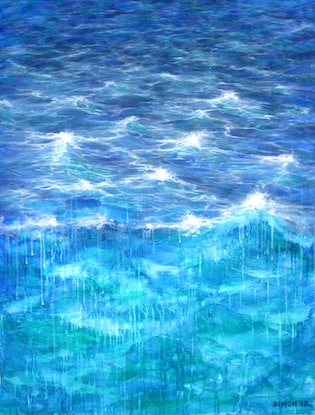 (CreativeWork) Turbulent Sea by Simon Phillips. Acrylic Paint. Shop online at Bluethumb.