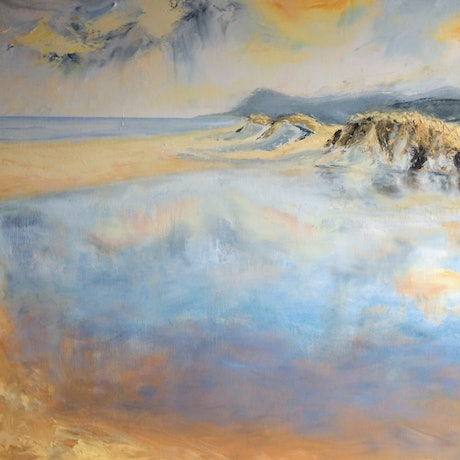 (CreativeWork) Still Lagoon by Liam Rudolf. Oil Paint. Shop online at Bluethumb.