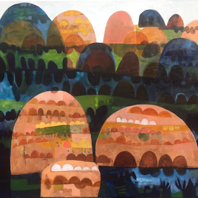 (CreativeWork) In the Shadow of Forever Land by Greta Laundy. arcylic-painting. Shop online at Bluethumb.