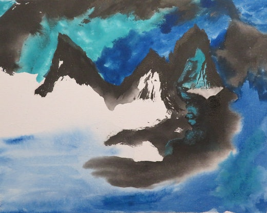 (CreativeWork) Blue & Green Landscape - Mountains-9 by Nora McLean. Watercolour Paint. Shop online at Bluethumb.