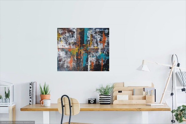 (CreativeWork) City Reflections by Judi Goodwin. Acrylic Paint. Shop online at Bluethumb.