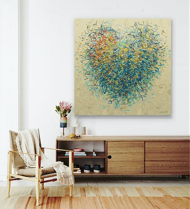 (CreativeWork) The Optimist Heart.  Acrylic and mixed media on canvas 127cm sqaure  by George Hall. #<Filter:0x000056207f5a0b68>. Shop online at Bluethumb.