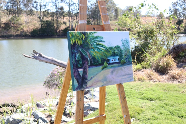 (CreativeWork) The Houseboat by Sue Whittaker. Oil Paint. Shop online at Bluethumb.
