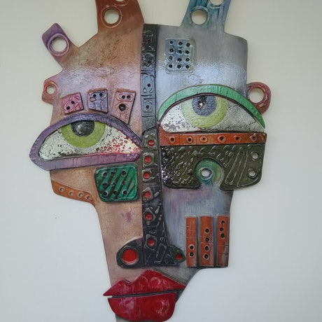 (CreativeWork) Tribal Abstract 19/10 BAMBARA by Christopher Bugden. Mixed Media. Shop online at Bluethumb.