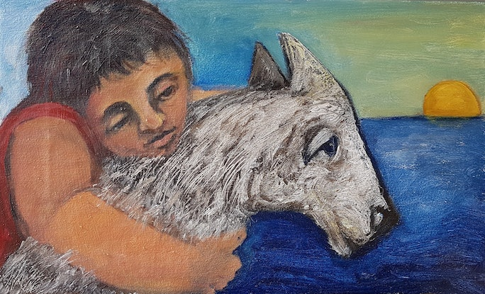 (CreativeWork) The Dog Lover by Saren Dobkins. Acrylic Paint. Shop online at Bluethumb.