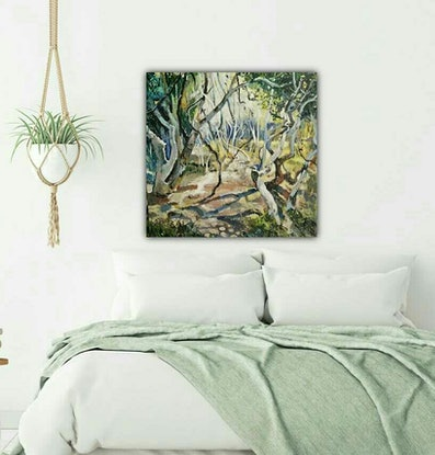 (CreativeWork) Australian  landscape  - Twisted Trees and Kookaburras by Susan Trudinger. Acrylic Paint. Shop online at Bluethumb.