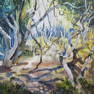 (CreativeWork) Australian  landscape  - Twisted Trees and Kookaburras by Susan Trudinger. acrylic-painting. Shop online at Bluethumb.