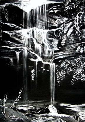(CreativeWork) Waterfall, Blue Mountains by Linda Callaghan. Drawings. Shop online at Bluethumb.