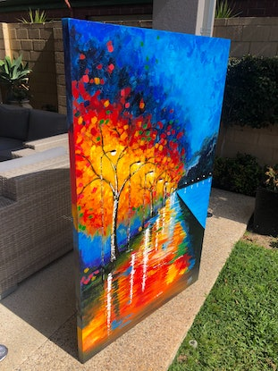 (CreativeWork) Treescape2 by Tom Roso. Acrylic Paint. Shop online at Bluethumb.
