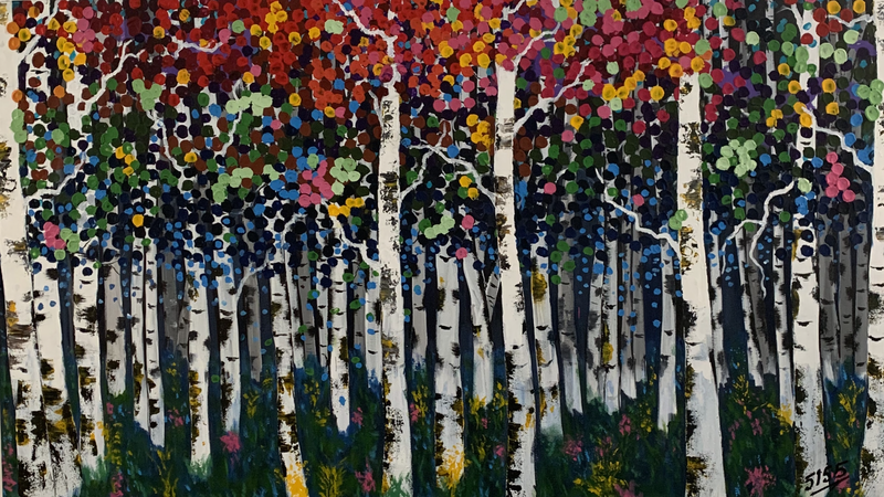 (CreativeWork) Birch 1 by Tom Roso. Acrylic Paint. Shop online at Bluethumb.