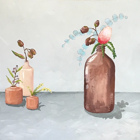 (CreativeWork) Apothecary Bottle With Natives  by Anna Bektash. Acrylic Paint. Shop online at Bluethumb.