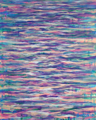 (CreativeWork) Pastel Waves by Simon Phillips. Acrylic Paint. Shop online at Bluethumb.