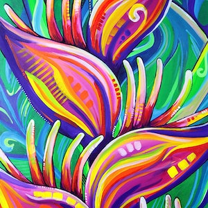 (CreativeWork) Heliconia - Tropical Flower Painting by Eve Izzett. arcylic-painting. Shop online at Bluethumb.
